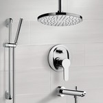 Tub and Shower Faucet, Remer TSR40, Chrome Tub and Shower System with Rain Ceiling Shower Head and Hand Shower