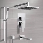 Tub and Shower Faucet, Remer TSR46, Chrome Tub and Shower System with Rain Shower Head and Hand Shower