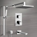 Tub and Shower Faucet, Remer TSR47, Chrome Thermostatic Tub and Shower System with Rain Shower Head and Hand Shower