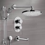 Tub and Shower Faucet, Remer TSR49, Chrome Tub and Shower Set with Rain Shower Head and Hand Shower
