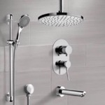 Tub and Shower Faucet, Remer TSR50, Chrome Tub and Shower System with Ceiling Rain Shower Head and Hand Shower