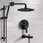Tub and Shower Faucet, Remer TSR52, Matte Black Tub and Shower Faucet Set with Rain Shower Head and Hand Shower