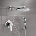 Shower Faucet, Remer SFH14, Chrome Shower System With Rain Shower Head and Hand Shower