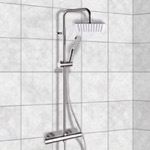 Exposed Pipe Shower, Remer SC503, Chrome Thermostatic Exposed Pipe Shower System with 8