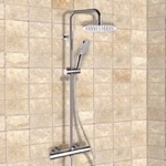 Exposed Pipe Shower, Remer SC505, Chrome Thermostatic Exposed Pipe Shower System with 8