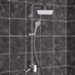 Exposed Pipe Shower, Remer SC522, Chrome Exposed Pipe Shower System with 8
