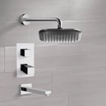 Tub and Shower Faucet, Remer TSF2400, Chrome Thermostatic Tub and Shower Faucet Sets with 8