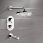 Tub and Shower Faucet, Remer TSF2408, Chrome Thermostatic Tub and Shower Faucet Sets with 10