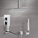 Tub and Shower Faucet, Remer TSH4020, Chrome Tub and Shower System with Ceiling 14