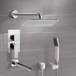 Tub and Shower Faucet, Remer TSH4056, Chrome Tub and Shower System with 14