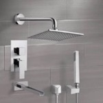 Tub and Shower Faucet, Remer TSH4110, Chrome Tub and Shower System with 8