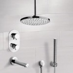 Tub and Shower Faucet, Remer TSH4405, Chrome Thermostatic Tub and Shower System with 8