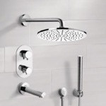 Tub and Shower Faucet, Remer TSH4409, Chrome Thermostatic Tub and Shower System with 12