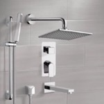 Tub and Shower Faucet, Remer TSR01, Chrome Tub and Shower System with 8