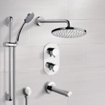 Tub and Shower Faucet, Remer TSR04, Chrome Thermostatic Tub and Shower System with 8