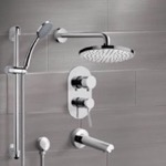 Tub and Shower Faucet, Remer TSR07, Chrome Tub and Shower System with 8
