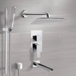 Tub and Shower Faucet, Remer TSR9055, Chrome Tub and Shower System with 14
