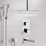 Tub and Shower Faucet, Remer TSR9401, Chrome Thermostatic Tub and Shower System with Ceiling 12
