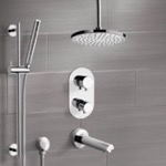 Tub and Shower Faucet, Remer TSR9405, Chrome Thermostatic Tub and Shower System with 8