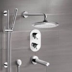 Tub and Shower Faucet, Remer TSR9407, Chrome Thermostatic Tub and Shower System with 9