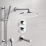 Tub and Shower Faucet, Remer TSR9409, Chrome Thermostatic Tub and Shower System with 12