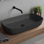 Bathroom Sink, Scarabeo 1803-49, Oval Matte Black Vessel Sink in Ceramic
