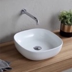 Bathroom Sink, Scarabeo 1806, Round White Ceramic Vessel Sink