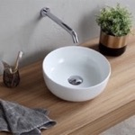 Bathroom Sink, Scarabeo 1808, Small Round Ceramic Vessel Sink