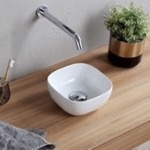 Bathroom Sink, Scarabeo 1809, Small Round Ceramic Vessel Sink
