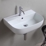 Bathroom Sink, Scarabeo 1811, Modern White Ceramic Wall Mounted or Vessel Sink