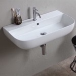 Bathroom Sink, Scarabeo 1812, Modern White Ceramic Wall Mounted or Vessel Sink