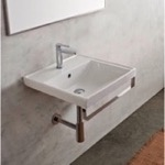 Bathroom Sink, Scarabeo 3001-TB, Square Wall Mounted Ceramic Sink With Polished Chrome Towel Bar