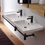 Bathroom Sink, Scarabeo 3006-TB-BLK, Double Basin Wall Mounted Ceramic Sink With Matte Black Towel Bar