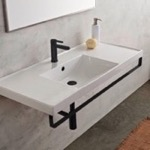 Bathroom Sink, Scarabeo 3007-TB-BLK, Rectangular Wall Mounted Ceramic Sink With Matte Black Towel Bar