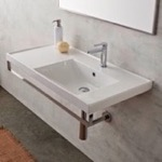 Bathroom Sink, Scarabeo 3009-TB, Rectangular Wall Mounted Ceramic Sink With Polished Chrome Towel Bar