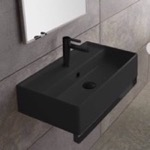 Bathroom Sink, Scarabeo 5001-49-TB-BLK, Matte Black Ceramic Wall Mounted Sink With Matte Black Towel Bar