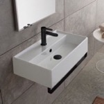 Bathroom Sink, Scarabeo 5002-TB-BLK, Rectangular Wall Mounted Ceramic Sink With Matte Black Towel Bar