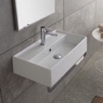 Bathroom Sink, Scarabeo 5002-TB, Rectangular Wall Mounted Ceramic Sink With Polished Chrome Towel Bar