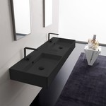 Bathroom Sink, Scarabeo 5116-49, Double Matte Black Ceramic Wall Mounted or Vessel Sink With Couterspace