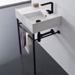 Bathroom Sink, Scarabeo 5117-CON-BLK, Ceramic Console Sink and Matte Black Stand
