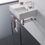 Bathroom Sink, Scarabeo 5117-CON, Rectangular Ceramic Console Sink and Polished Chrome Stand