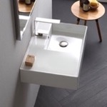Bathroom Sink, Scarabeo 5117, Rectangular Ceramic Wall Mounted or Vessel Sink With Counter Space
