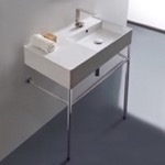 Bathroom Sink, Scarabeo 5118-CON, Rectangular Ceramic Console Sink and Polished Chrome Stand