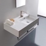 Bathroom Sink, Scarabeo 5118-TB, Rectangular Ceramic Wall Mounted Sink With Counter Space, Includes Towel Bar