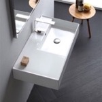 Bathroom Sink, Scarabeo 5118, Rectangular Ceramic Wall Mounted or Vessel Sink With Counter Space