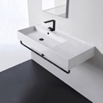 Bathroom Sink, Scarabeo 5119-TB-BLK, Rectangular Ceramic Wall Mounted Sink, Matte Black Towel Bar Included