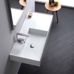 Bathroom Sink, Scarabeo 5119, Rectangular Ceramic Wall Mounted or Vessel Sink With Counter Space