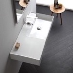 Bathroom Sink, Scarabeo 5120, Rectangular Ceramic Wall Mounted or Vessel Sink With Counter Space