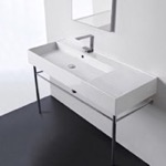 Bathroom Sink, Scarabeo 5121-CON, Rectangular Ceramic Console Sink and Polished Chrome Stand