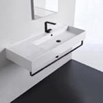 Bathroom Sink, Scarabeo 5122-TB-BLK, Rectangular Ceramic Wall Mounted Sink, Matte Black Towel Bar Included